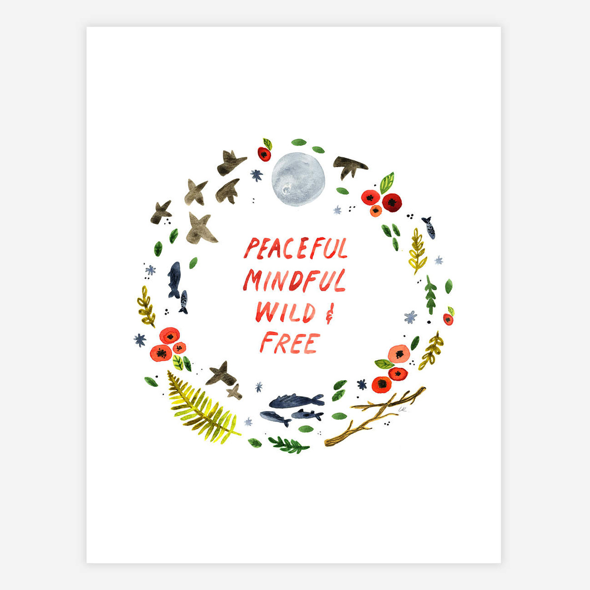 "Little Truths Studio Peaceful, Mindful 8.5"" x 11"" Print"