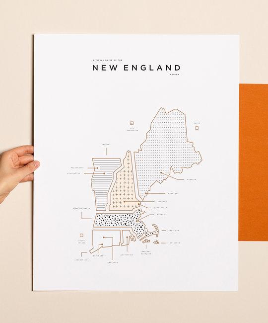 42 Pressed 42 Pressed New England Map Print
