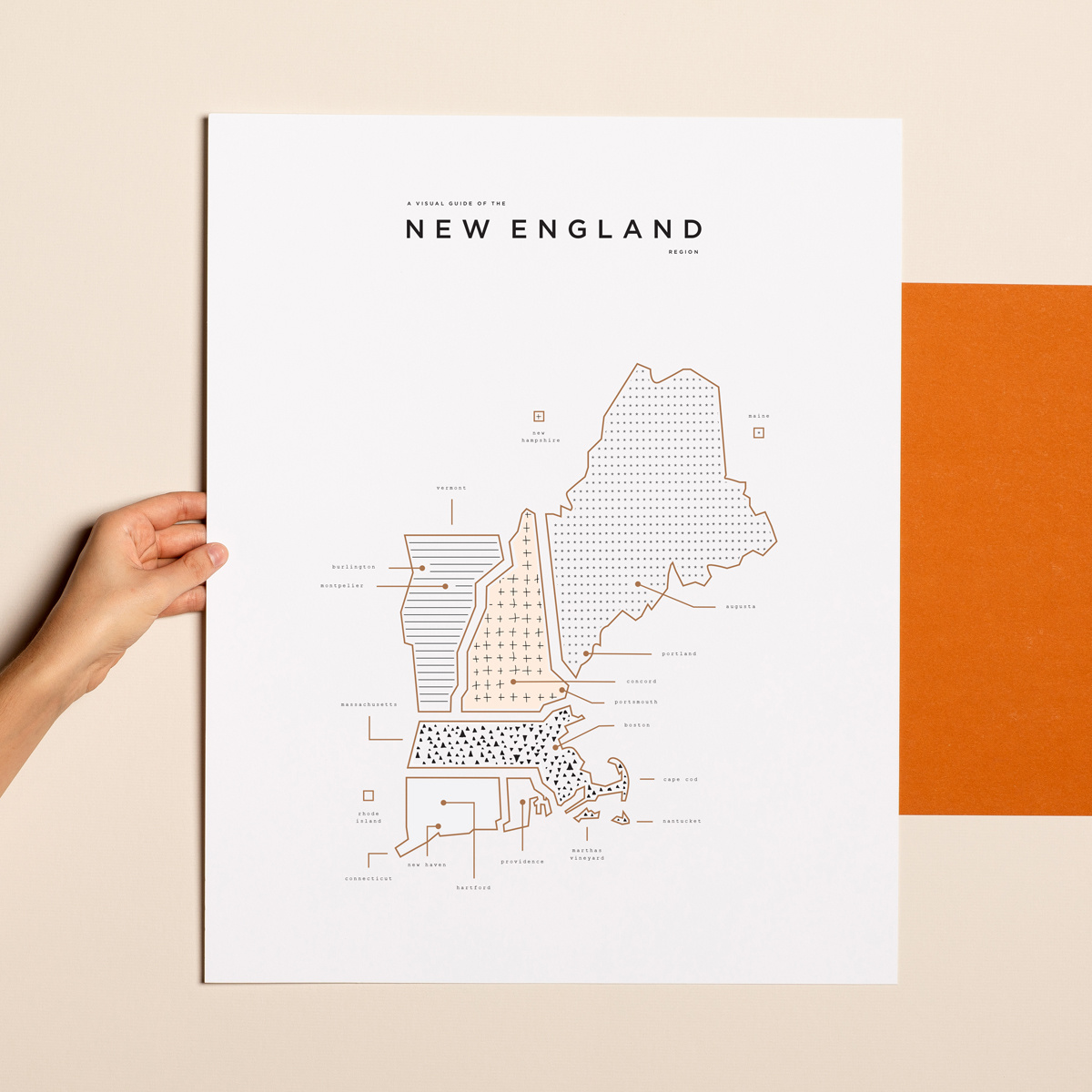 42 Pressed 42 Pressed New England Map Print