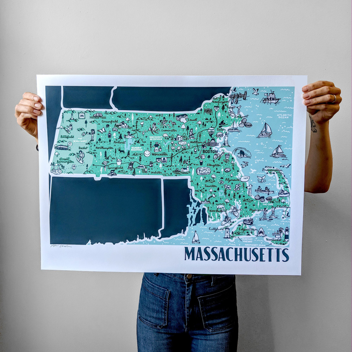 "Brainstorm Print and Design Massachusetts Map Screen Print 18""x24"""
