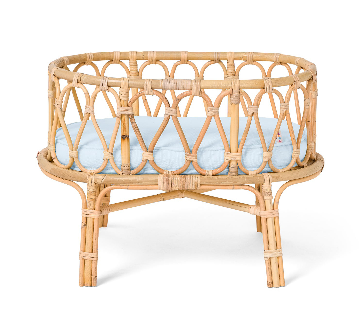 Poppie Rattan Doll Crib with blue mattress