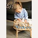 Poppie Rattan Doll Crib with blue mattress