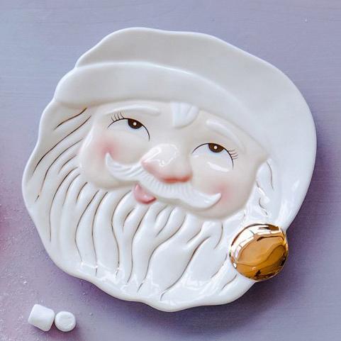 One Hundred 80 Degrees Papa Noel White Santa Cookie Plate