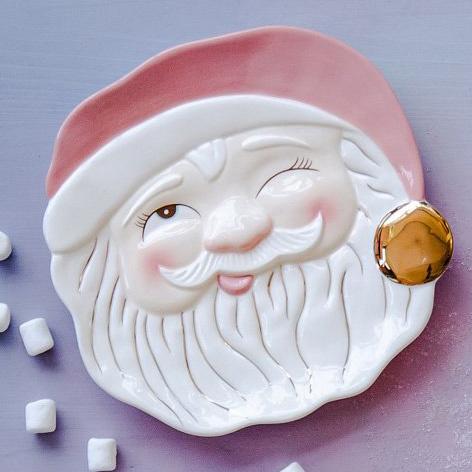 One Hundred 80 Degrees - 180 Papa Noel Pink Santa Cookie Plate