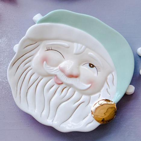 One Hundred 80 Degrees Papa Noel Mint Santa Cookie Plate