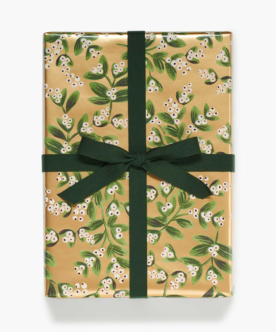 Rifle Paper Co. Rifle Paper Co Mistletoe Gold Continuous Wrapping Roll