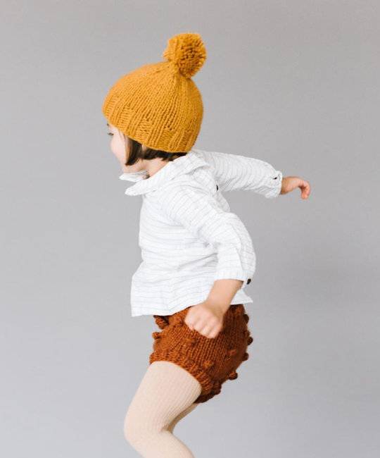 The Blueberry Hill Single Pom Mustard Hat: Small 12-24 months