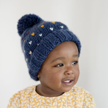 The Blueberry Hill Denim Heart Sawyer Hat: Small 12-24 months