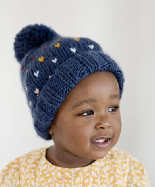 The Blueberry Hill - BH Denim Heart Sawyer Hat: Small 12-24 months
