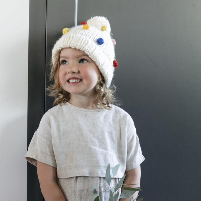 The Blueberry Hill Percy Rainbow Dot Beanie: Medium 2-8 years