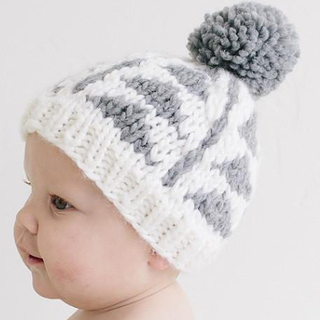 The Blueberry Hill Blake Gray Triangle Knit Hat: Small 12-24 months