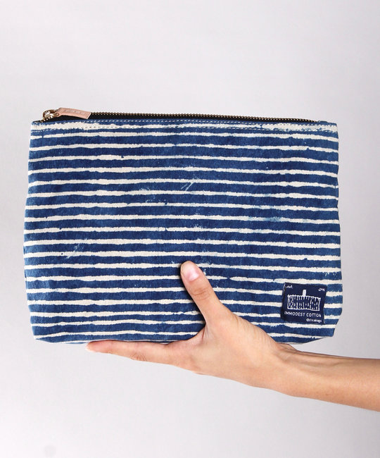 IMMODEST COTTON x Fleabags Immodest Cotton - Mini Sardine Pouch, Indigo Stripe