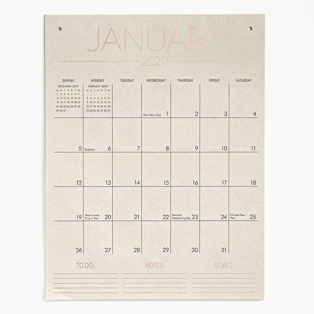 Waste Not Paper 2020 Tall on Wall Foil Poster Calendar