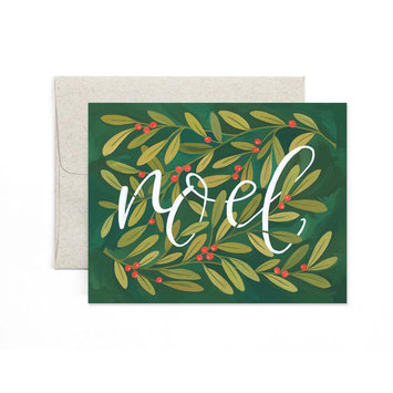 one canoe two letterpress Noel Holly Note Set of 8