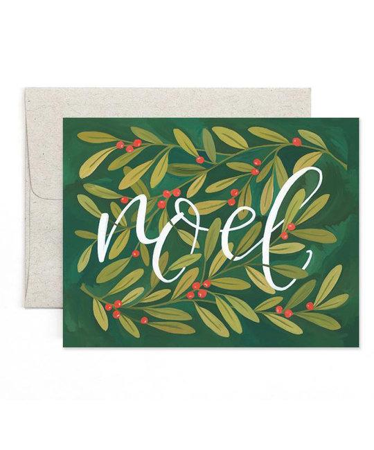 one canoe two letterpress Noel Holly Note Set of 8