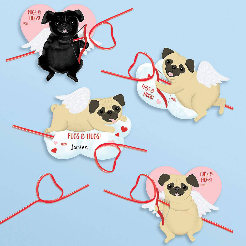 Waste Not Paper - WN Cupid Pug Valentine Card Kit - set of 24