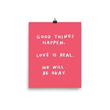 AdamJK Good Things Happen Print, Pink, 8 x 10 inch
