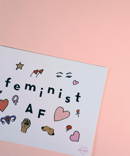 "Ash + Chess Ash and Chess - Feminist AF Print 8"" x 10"""