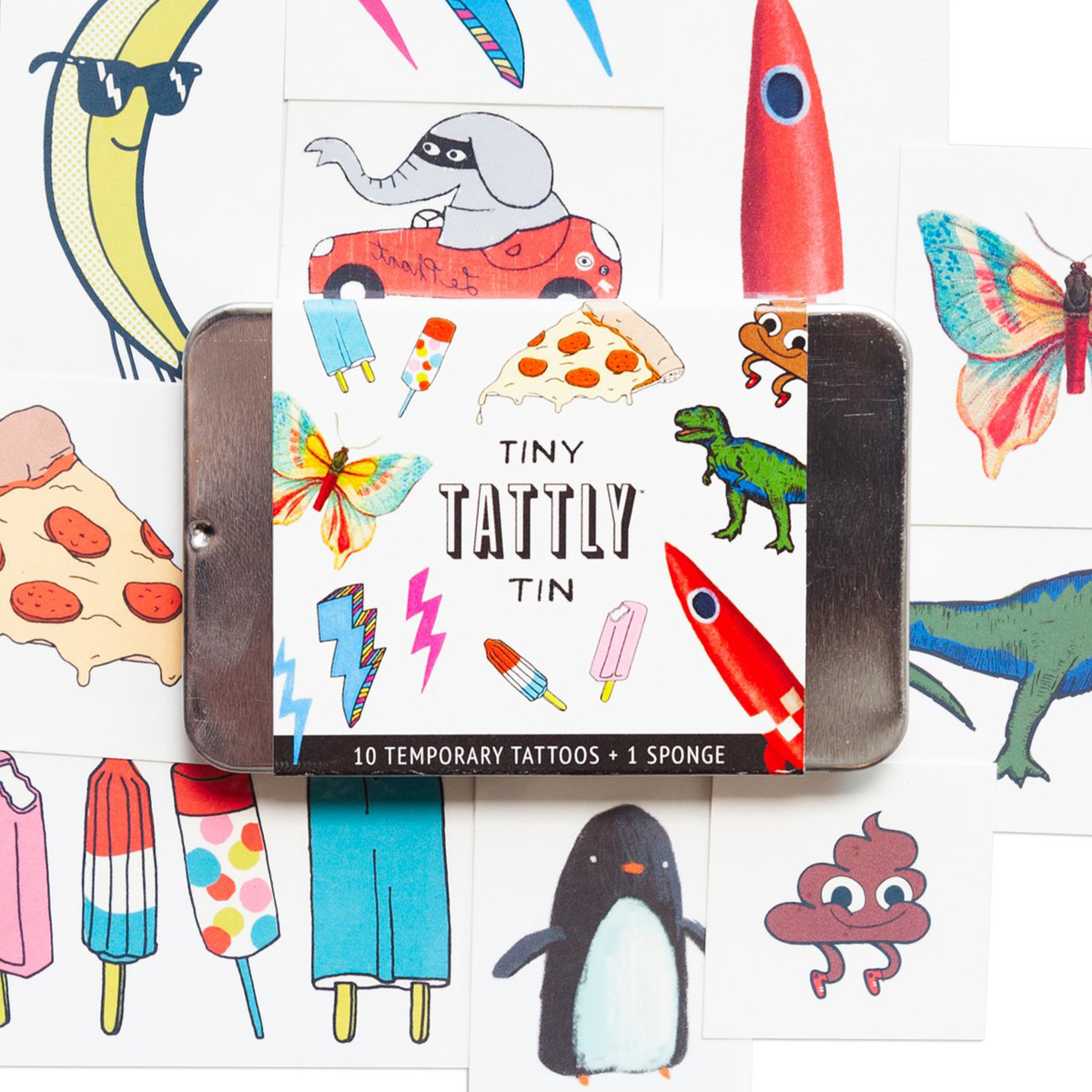 Tattly - TA Tattly -  Tiny Funner Tin of Mini Tattoos