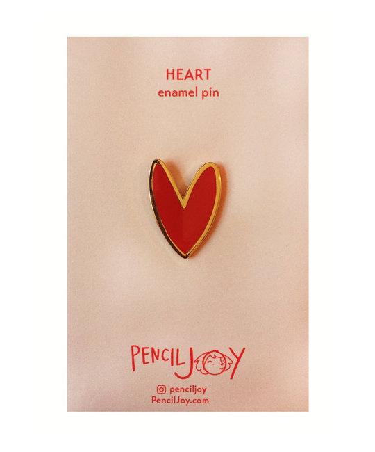 Pencil Joy Enamel Heart Pin  Red