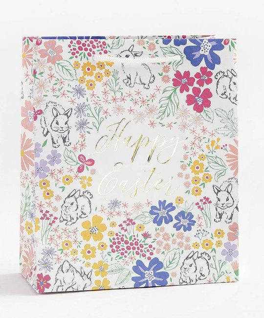 Waste Not Paper Happy Easter Bunny Foil Gift Bag, Medium