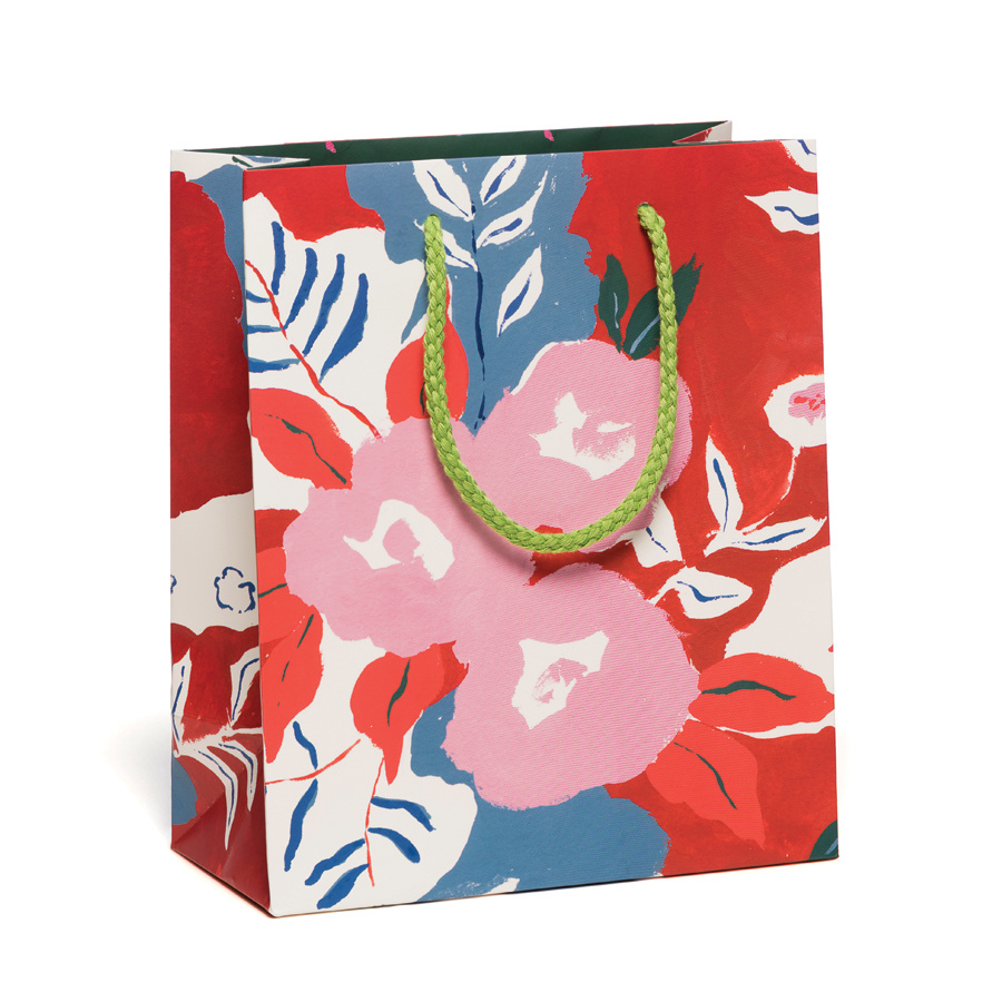 Red Cap Cards Ruby Red Flowers Bag, Medium