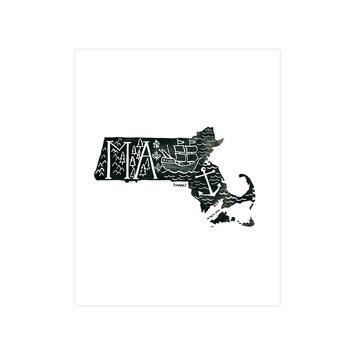 one canoe two letterpress Massachusetts Black and White Print, 8x10