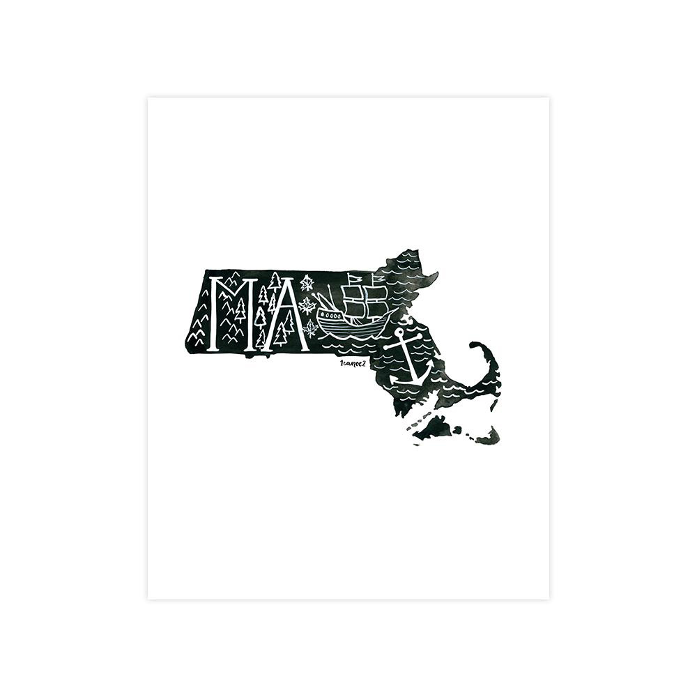 One Canoe Two Letterpress - OC Massachusetts Black and White Print, 8x10