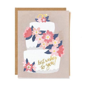 one canoe two letterpress Wedding Cake, Best Wishes