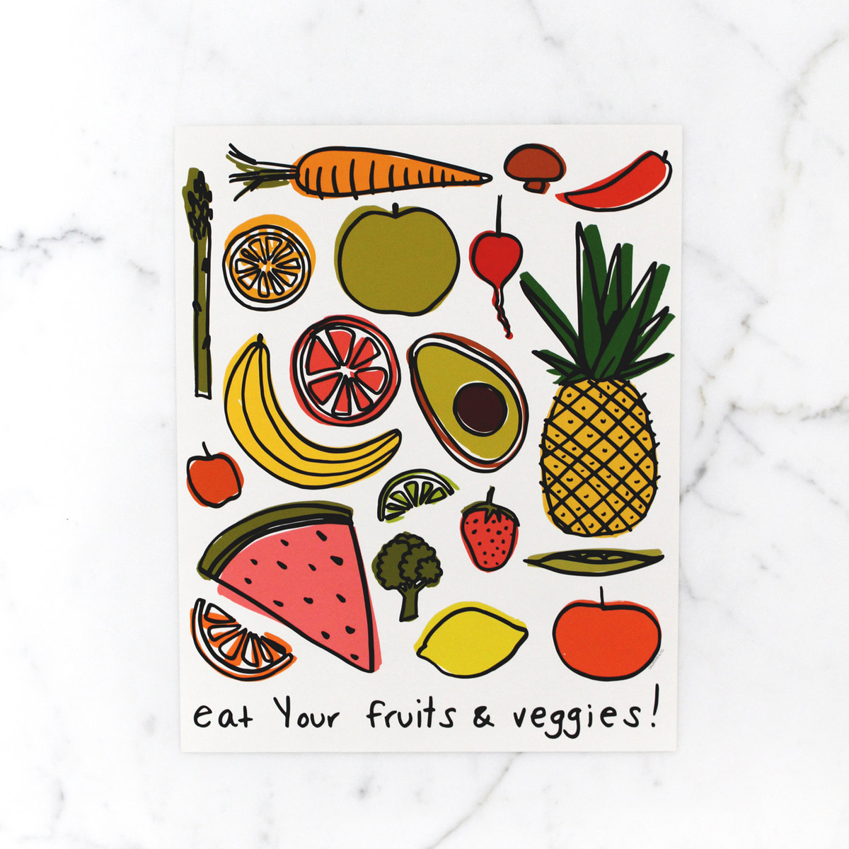 Calhoun & Co. Calhoun & Co.  Eat Your Fruits & Veggies Art Print