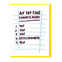 and Here We Are - AHW Top Five People Card