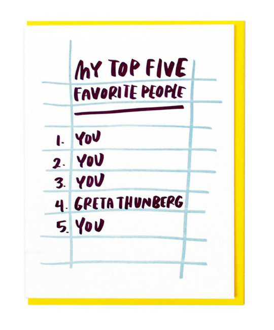 and Here We Are Top Five People Card