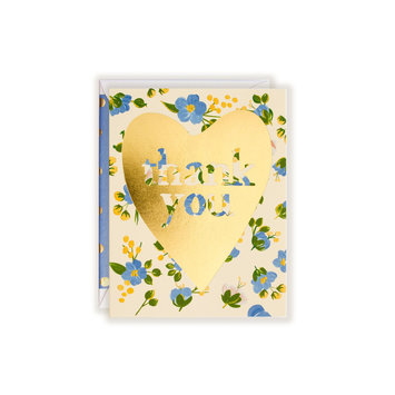 First Snow Thank You Gold Heart with Blue Florals