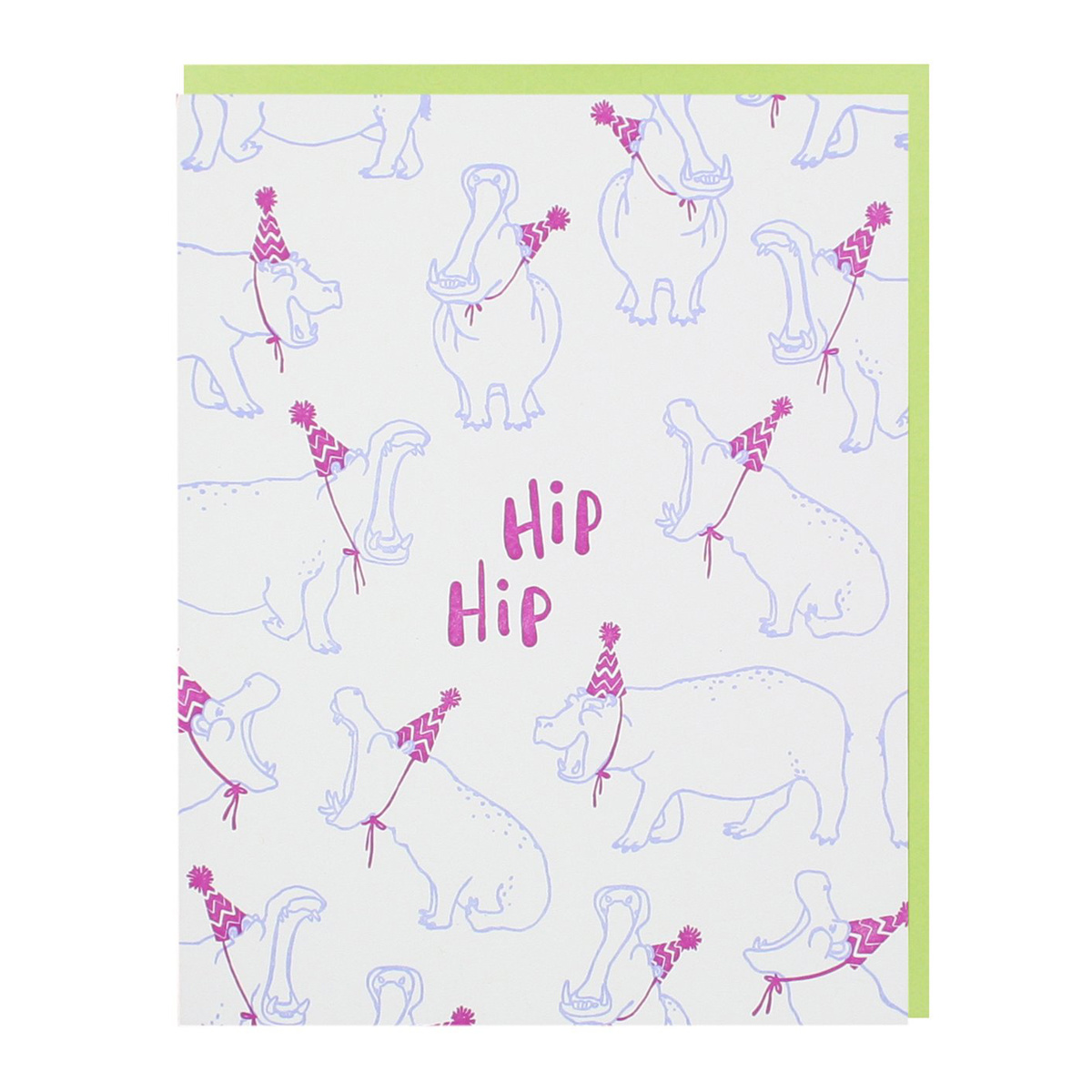 Smudge Ink - SI Party Hippos Birthday Hip Hip Hooray Card