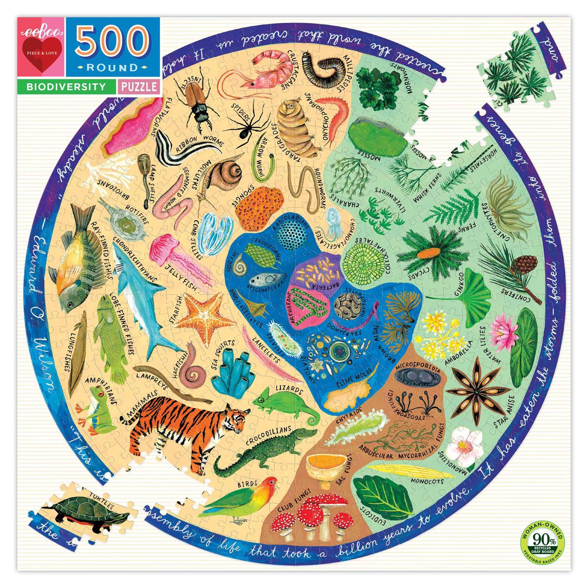 Eeboo - EE Biodiversity 500 Piece Round Puzzle