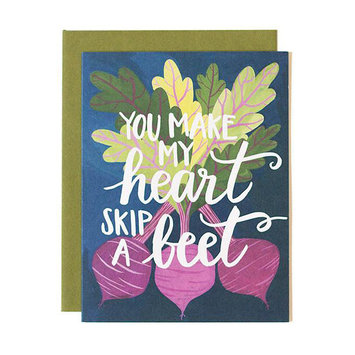 one canoe two letterpress Skip a Beet Card