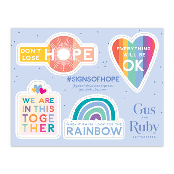 Gus and Ruby Letterpress Gus & Ruby Sticker Sheet - Signs of Hope