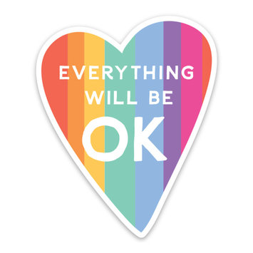 Gus and Ruby Letterpress Everything will be ok - die cut sticker