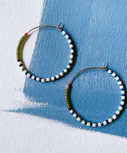 Alice Rise Olive Big Colorloop Beaded Earrings