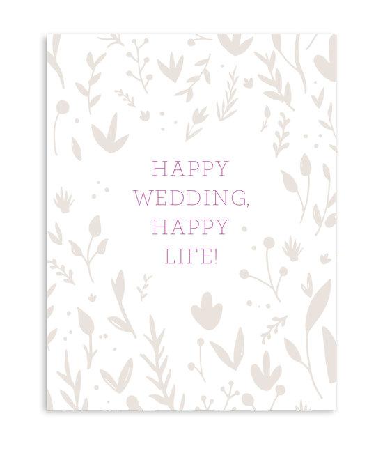 Gus and Ruby Letterpress - GR Gus & Ruby - Happy Wedding, Happy Life! Foil Flowers
