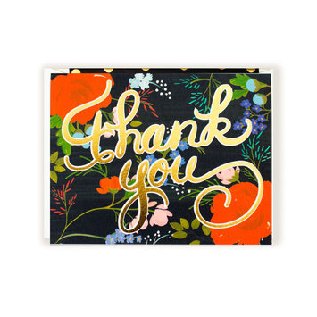 First Snow Thank You Floral Black - Box of 8