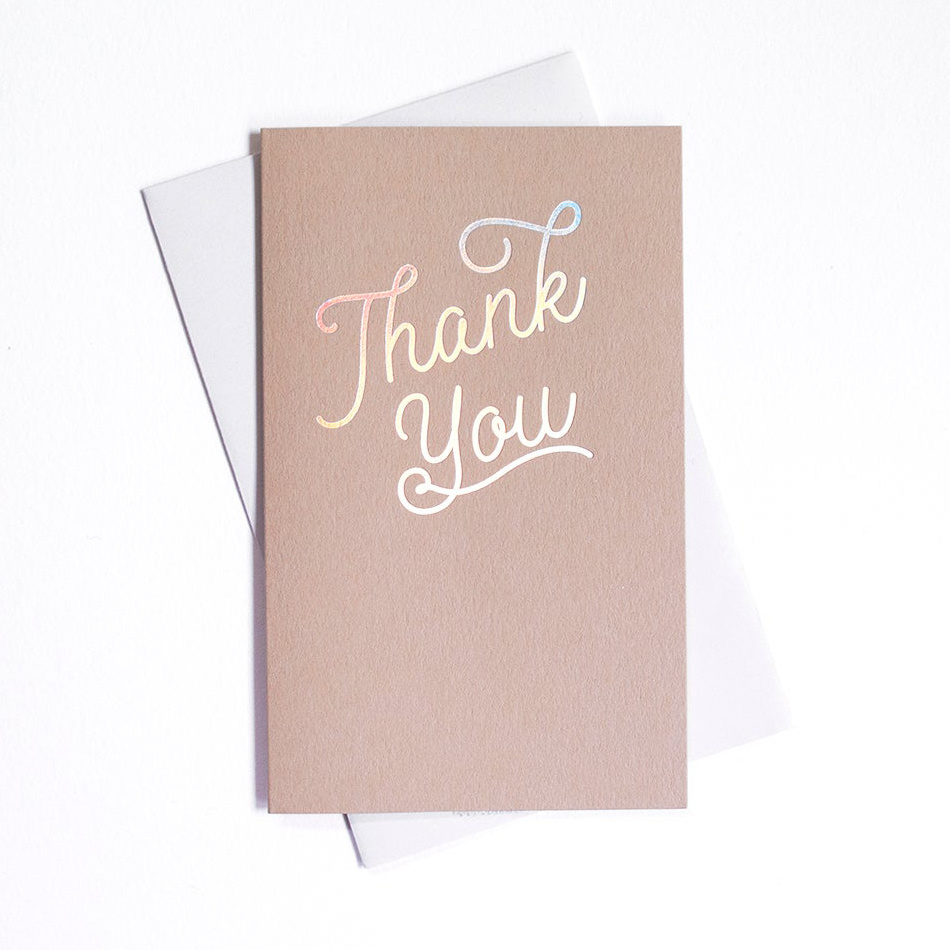 Anemone Letterpress Silver Holographic Foil Thank You, Set of 6