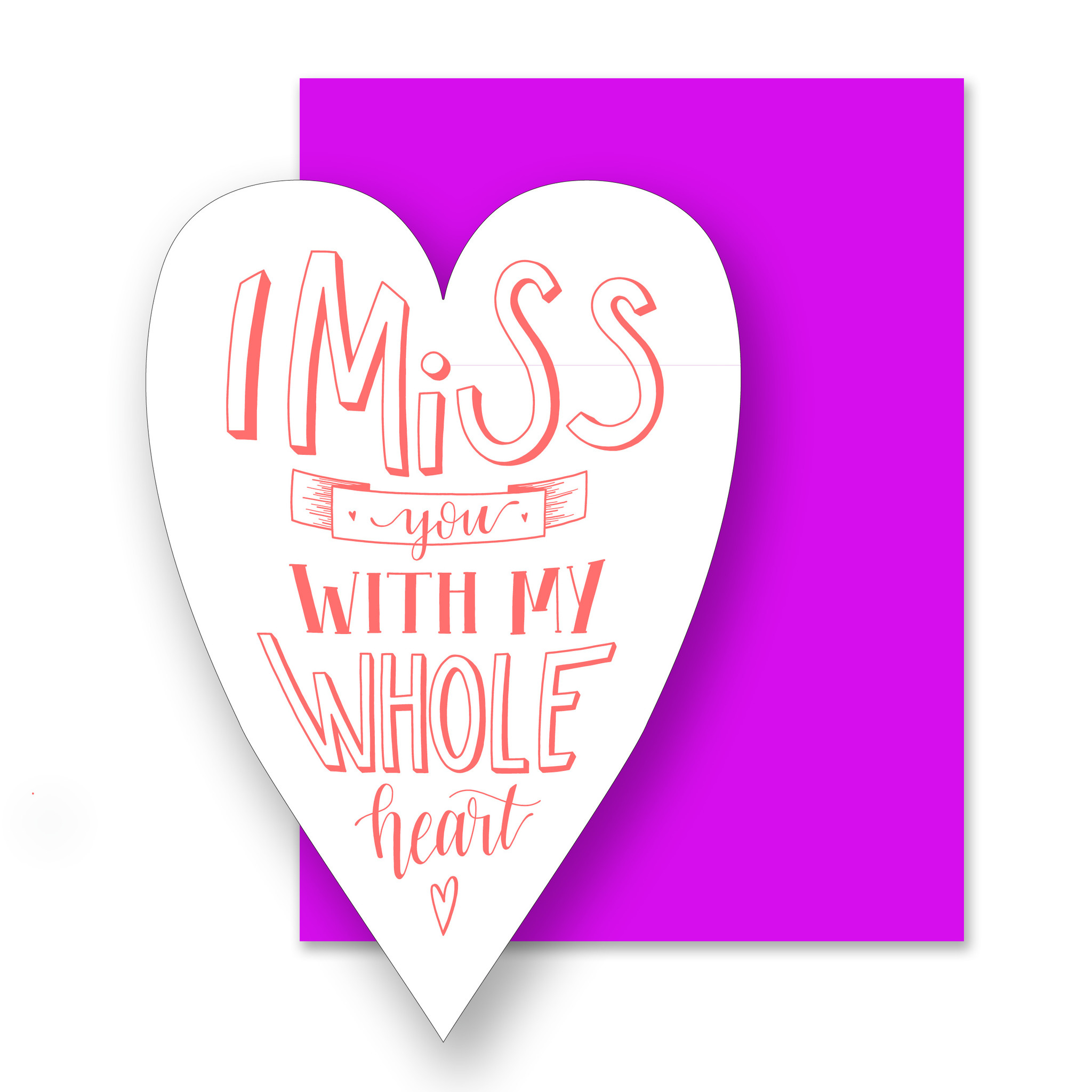 Gus and Ruby Letterpress - GR Miss You, Die Cut Heart (NEON)