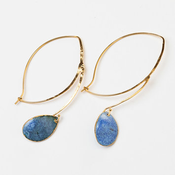 Uni-Forms Single Blue Teardrop Enamel Earrings