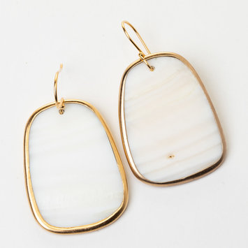 Uni-Forms White Trapezoid Mother of Pearl Earrings