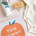 Gus and Ruby Letterpress Welcome Baby Gift Box in Marigold Stars