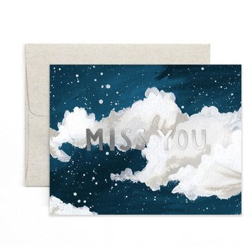 one canoe two letterpress Miss You Clouds Card
