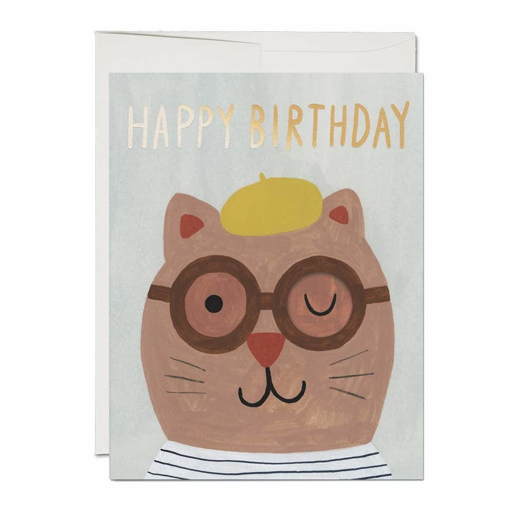 Red Cap Cards Lots of Cat French Fold Birthday Card