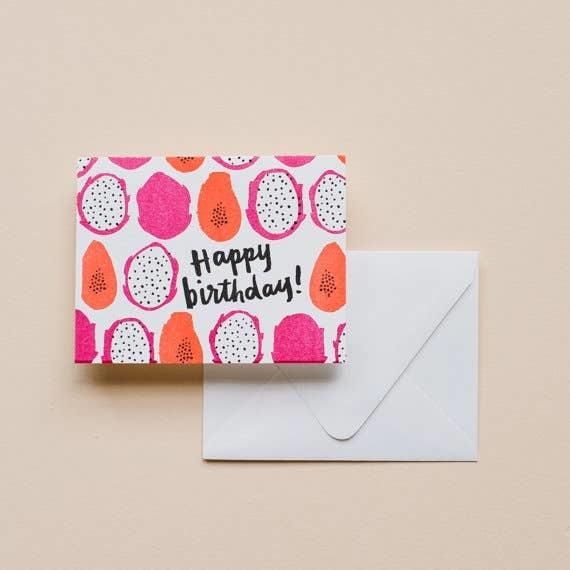Printerette Press Papaya Birthday Card