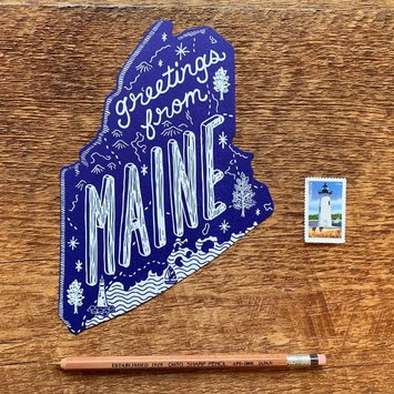 Noteworthy Paper and Press - NPP NPP PC - Greetings From Maine Postcard, Navy
